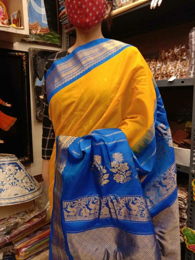 Handpicked Gadwal Premium Saree in Yellow and Blue