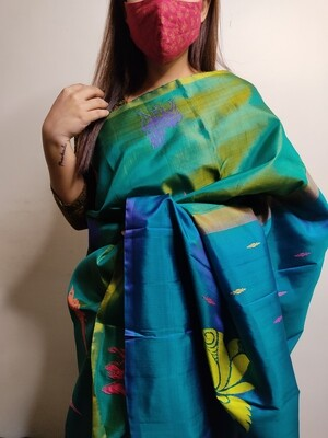 Sundori Kanchipuram silk saree in ocean blue