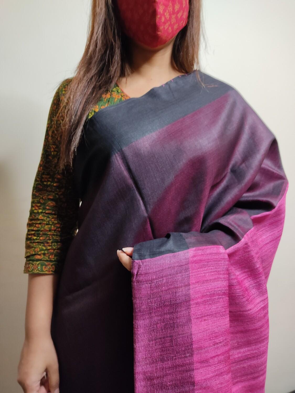 Sundori Pure Tussar Saree in Blackish Pink