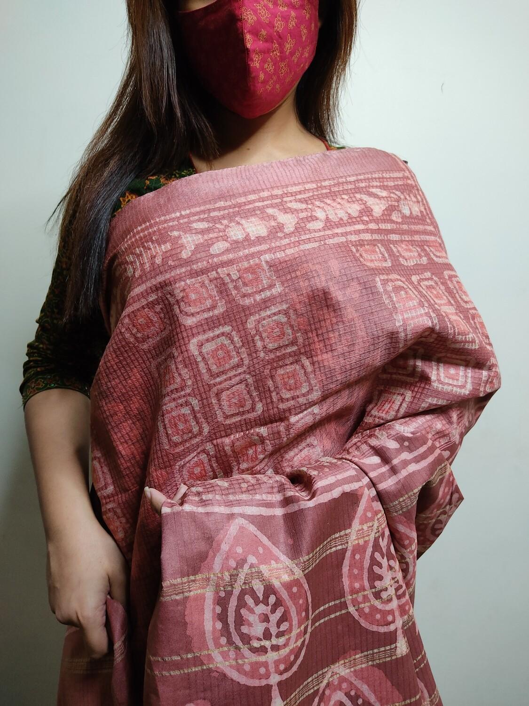 Sundori Bhagalpuri Silk Kota Saree in onion colour