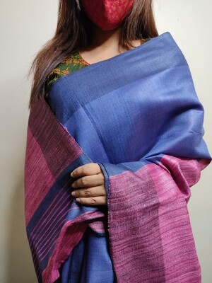 Sundori Pure Tussar Saree in Cobalt Blue & Pink