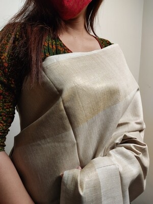Pure Tussar Saree in Beige by Sundori