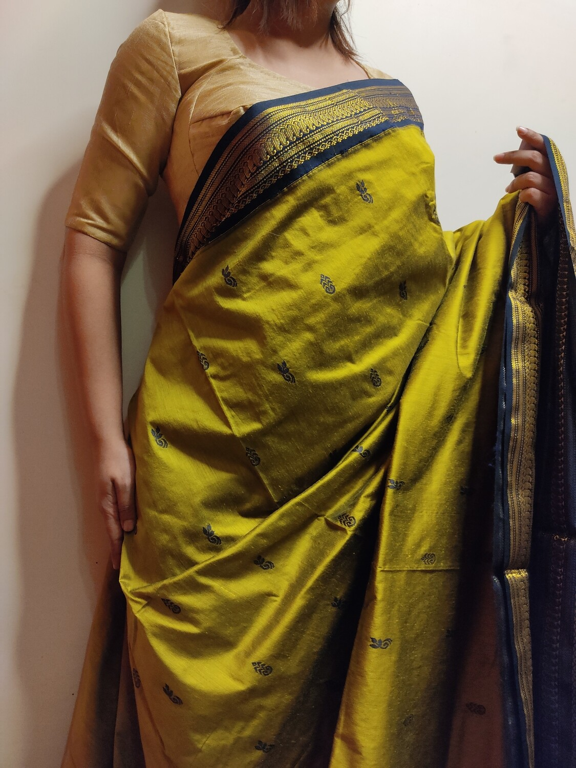Madurai Silk saree in Dark Lemon by sundori