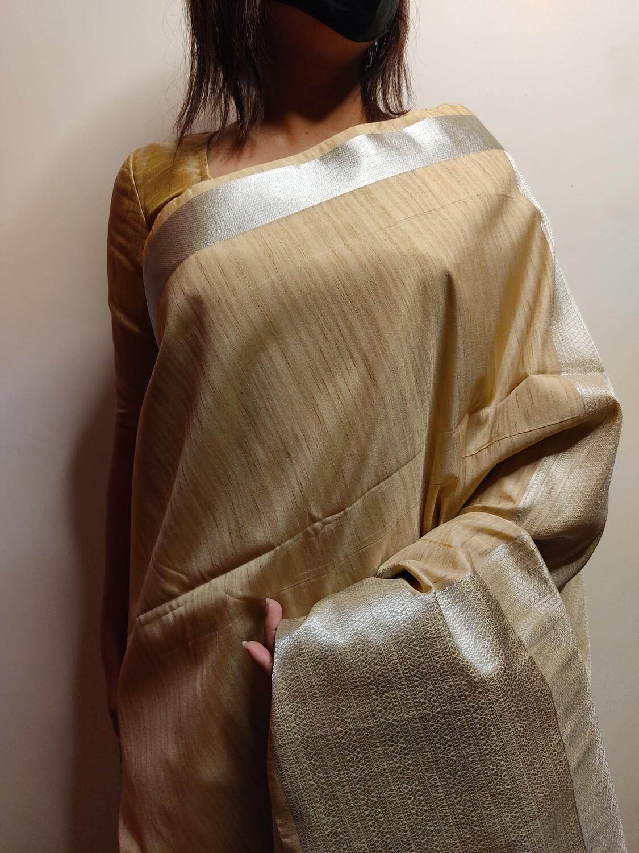 Pure Tussar Silk in Beige by Sundori