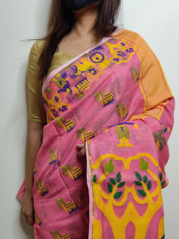 Soft Dhakai in pink by sundori