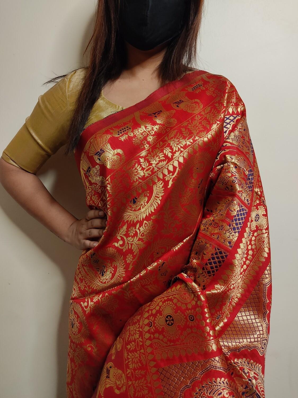 Baluchari Biswnupuri silk in Red by Sundori