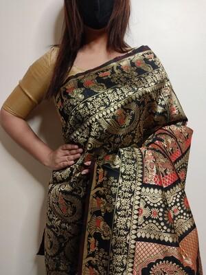 Baluchari Biswnupuri silk in Black by Sundori