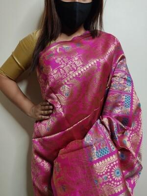 Baluchari Biswnupuri silk in Magenta by Sundori
