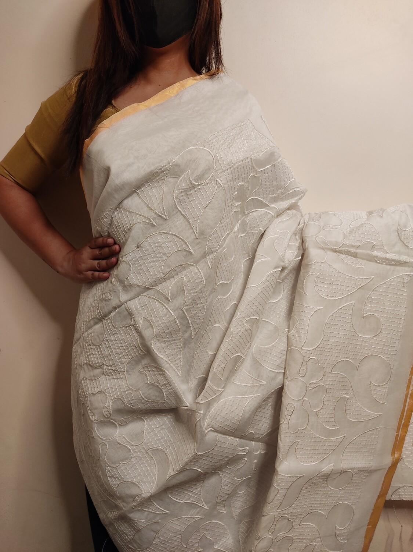 White Cotton saree with embroidery by sundori