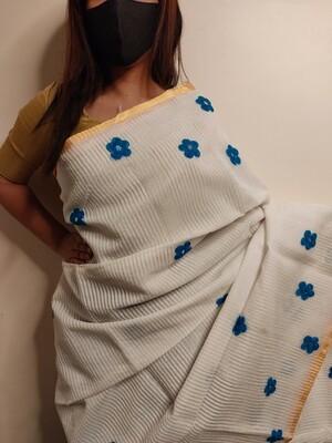 White cotton Saree with wool work by Sundori