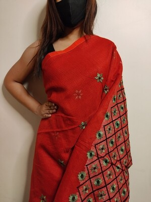 embroidered cotton saree in red by sundori
