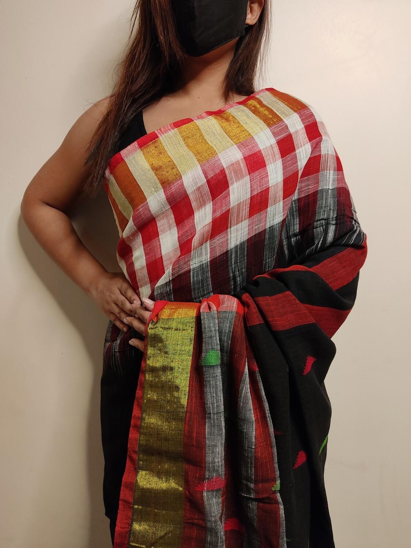 modern cotton saree in black by sundori