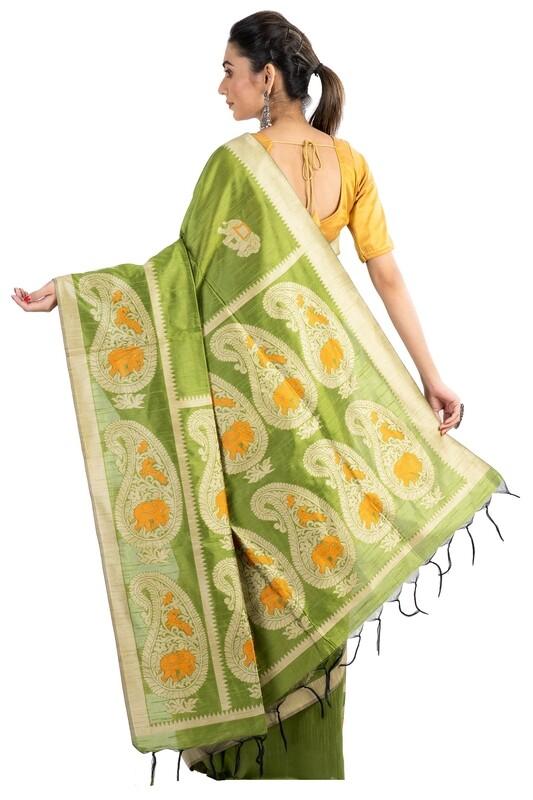 Sundori Green Ghicha Silk Saree
