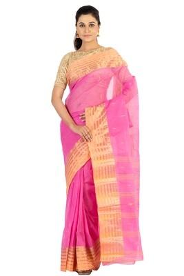 Sundori Tangail Cotton saree   Pure cotton  Bengali Traditional Tant   Fall Pico Ready   Pink