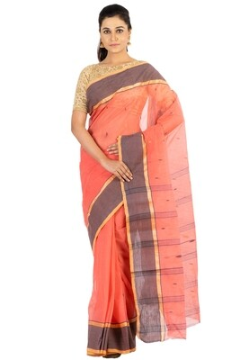 Sundori Tangail Cotton saree   Pure cotton  Bengali Traditional Tant   Fall Pico Ready   Red