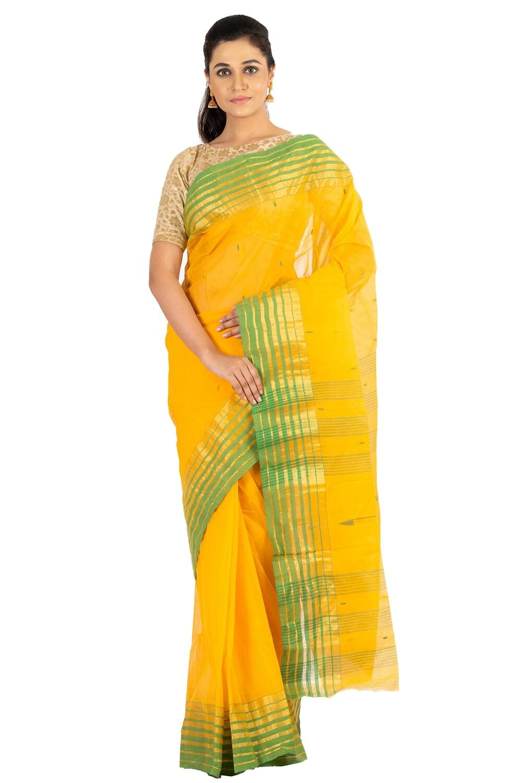 Sundori Tangail Cotton saree | Pure cotton |Bengali Traditional Tant | Fall Pico Ready | Yellow