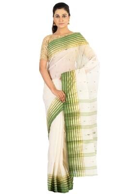 Sundori Tangail Cotton saree   Pure cotton  Bengali Traditional Tant   Fall Pico Ready   White