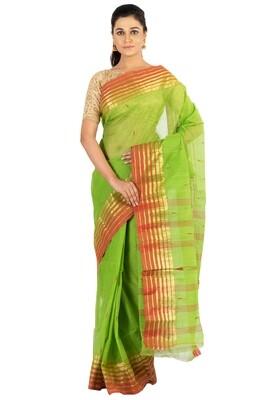 Sundori Tangail Cotton saree   Pure cotton  Bengali Traditional Tant   Fall Pico Ready   Green