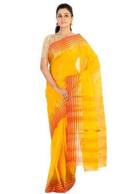 Sundori Tangail Cotton saree   Pure cotton  Bengali Traditional Tant   Fall Pico Ready   Yellow