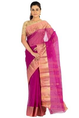 Sundori Tangail Cotton saree   Pure cotton  Bengali Traditional Tant   Fall Pico Ready   Purple