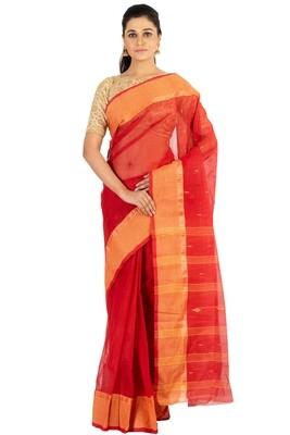 Sundori Tangail Cotton saree   Pure cotton  Bengali Traditional Tant   Fall Pico Ready   Maroon