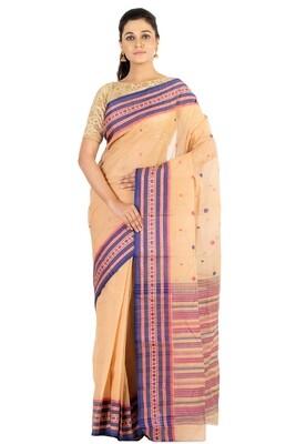 Sundori Tangail Cotton saree   Pure cotton  Bengali Traditional Tant   Fall Pico Ready   Beige