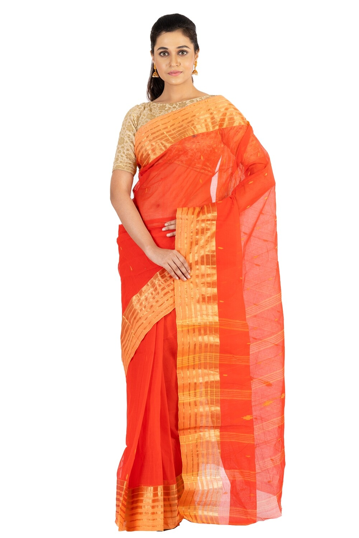 Sundori Tangail Cotton saree | Pure cotton |Bengali Traditional Tant | Fall Pico Ready | Red