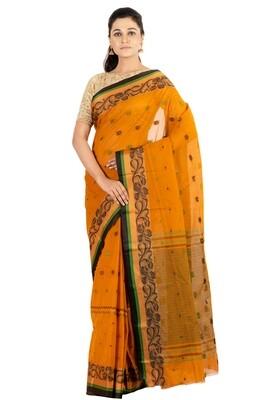Sundori Tangail Cotton saree   Pure cotton  Bengali Traditional Tant   Fall Pico Ready   Orange