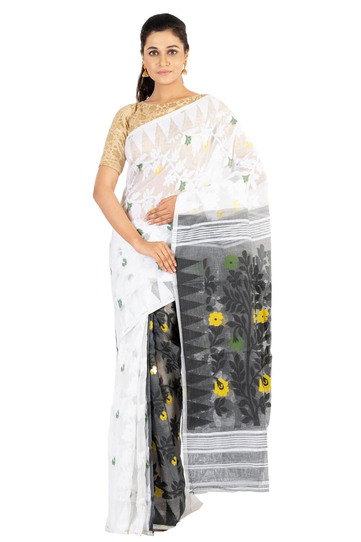 Sundori  Jamdani  Resham Saree  Cotton Weaved Motif  Soft Dhakai