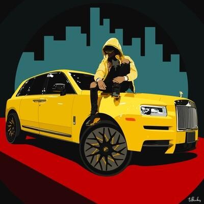 Key Glock and Yellow Rolce Royce Artwork