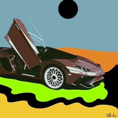 Travis Scott Lamborghini Aventador Artwork