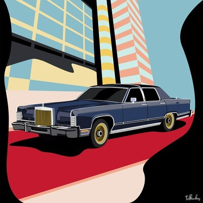 Old School Lincoln Driving Red Carpet Artwork