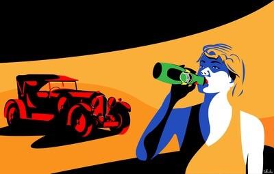 Bentley with Perrier Girl Artwork
