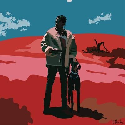 Psychedelic Travis Scott and Dobermann Artwork