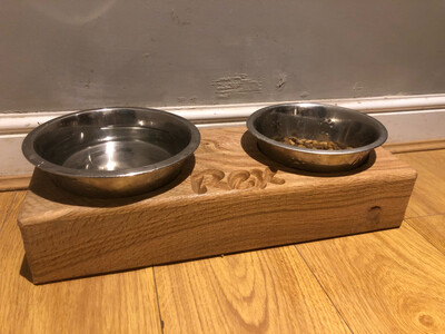 Soild Oak Dog Bowl Stand