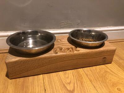 Soild Oak Dog Bowl Stand