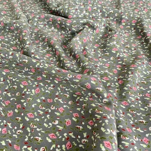 Ткань на отрез штапель 145 см 20015 Цветы на сером
