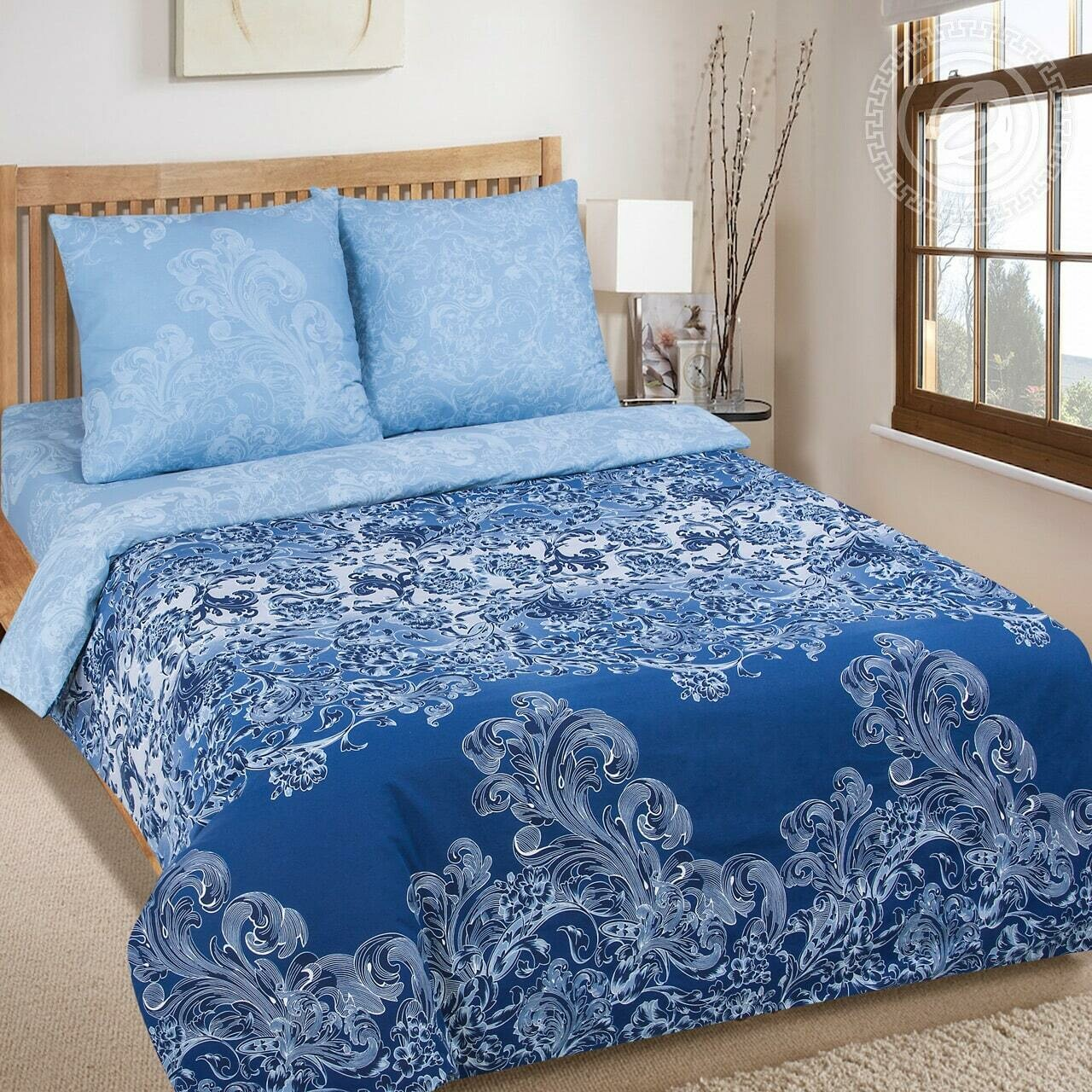 Синий узор - DE LUXE  (Комплекты постельного белья)