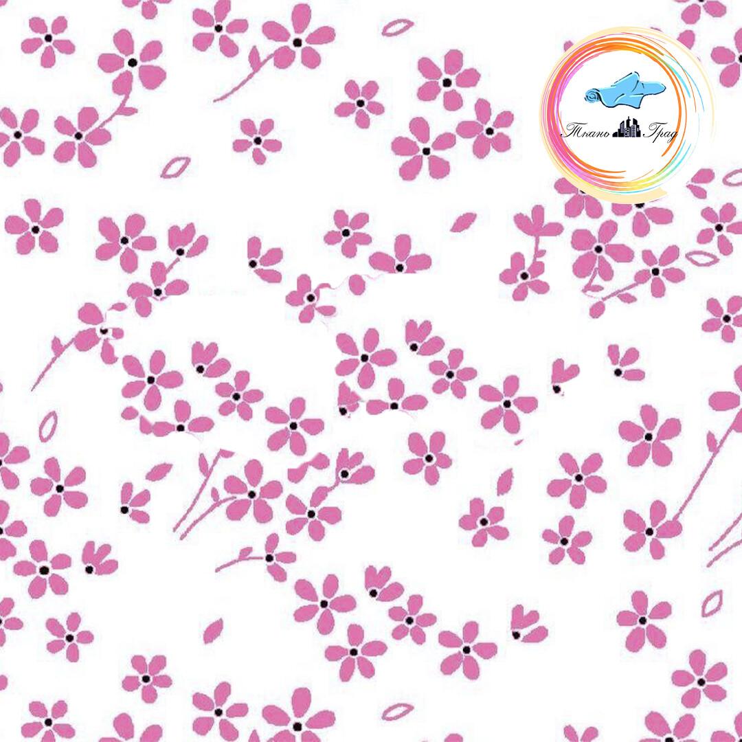 Ткань Ситец 80 см - 94191 - Розовые цветы