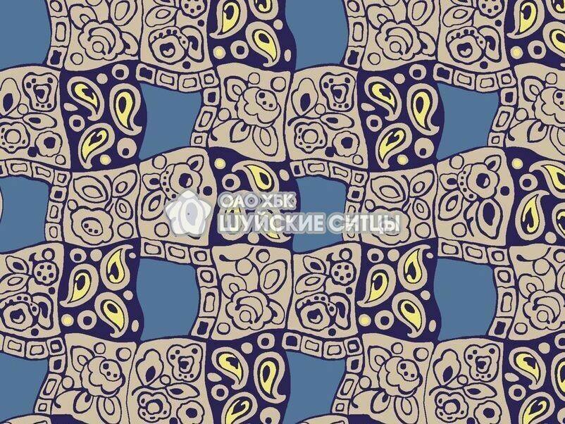Ткань Ситец 80 см - 93232 - Синий фон