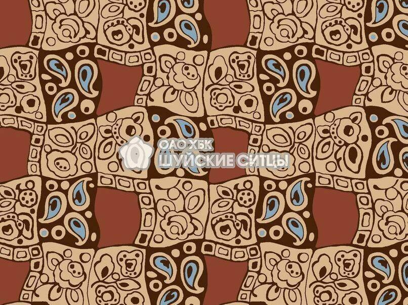 Ткань Ситец 80 см - 93231 - Коричневый фон
