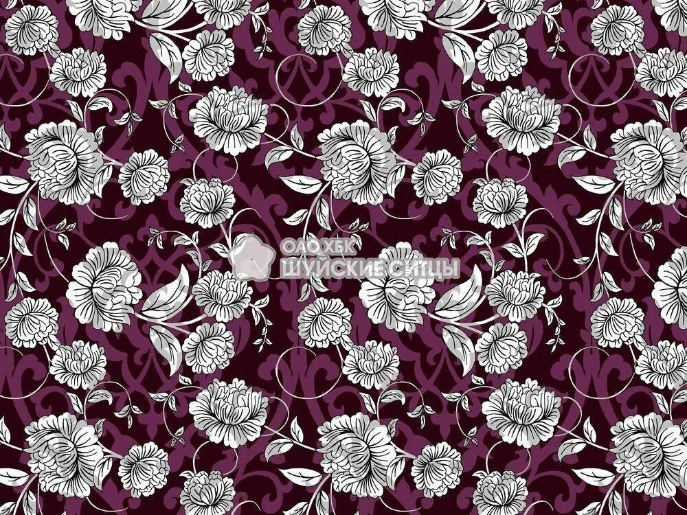 Ткань Ситец 80 см - 93052 - Фиолетовый узор