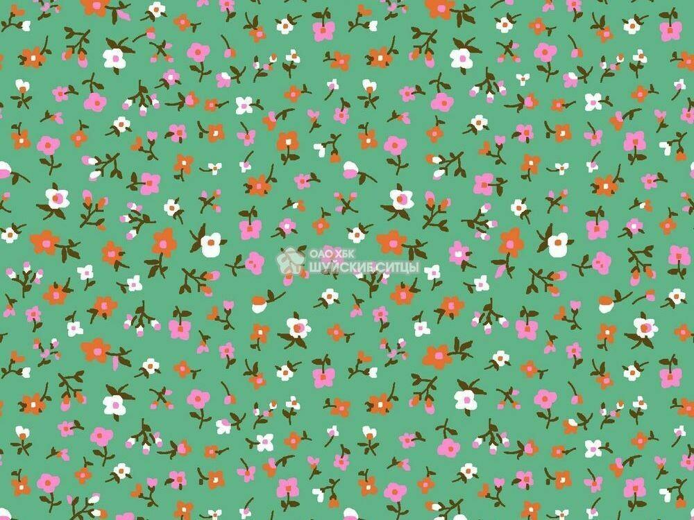 Ткань Ситец 80 см - 89891 - Оранжевые -розовые цветы