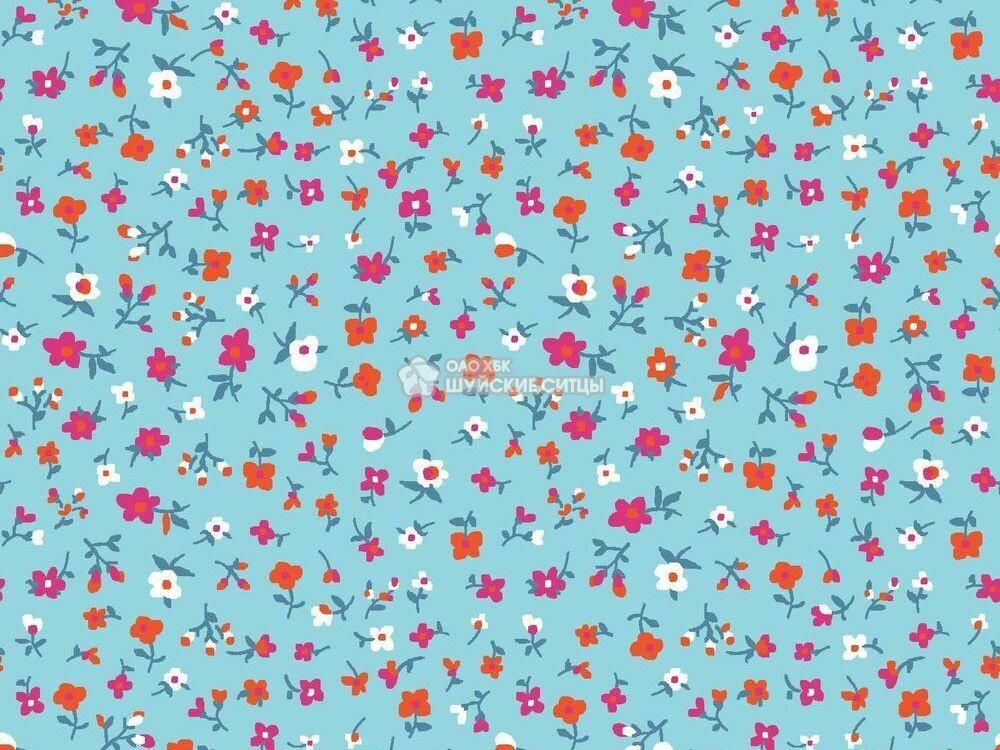 Ткань Ситец 80 см - 89892 - Оранжевые цветы