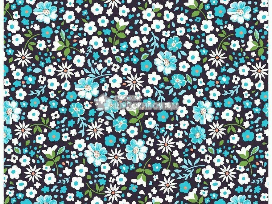 Ткань Ситец 80 см - 91092 - Голубые цветы