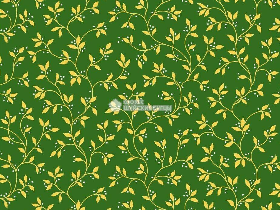 Ткань Ситец 80 см - 89871 - Темно - зеленый фон