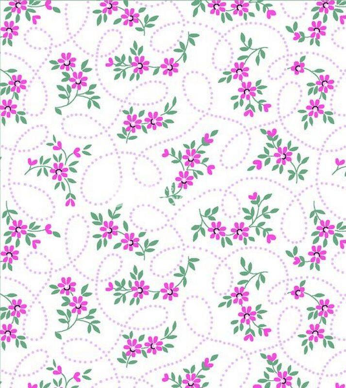Ткань Ситец 80 см - 83491 - Розовые цветы цветы