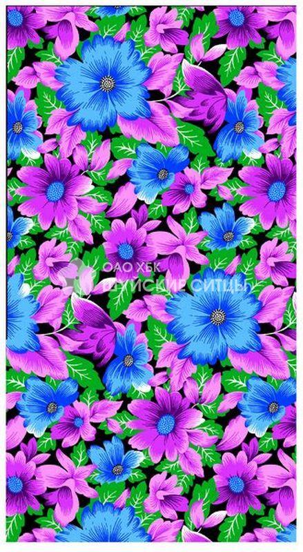 Ткань Ситец 80 см -  72243 - Синие цветы