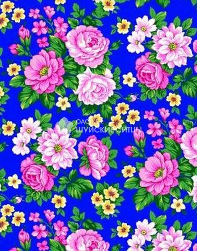 Ткань Ситец 80 см -  69561 - Синий фон