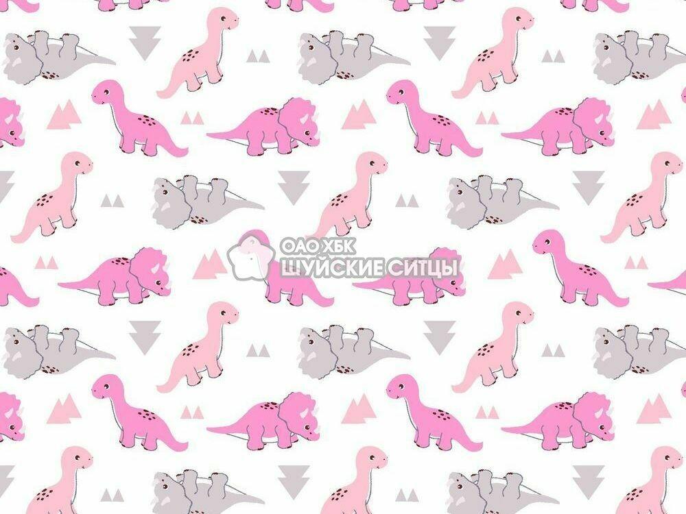 Ткань Ситец 95 95052 -  Динозавры розовый